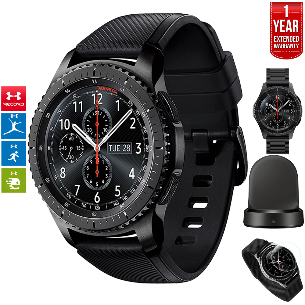 Samsung Gear S3 Frontier Bluetooth Watch with Built-in GPS Dark Gray (SM-R760NDAAXAR) with Wireless Charger Bundle + Wrist Band Black + 1 Year Extended Warranty