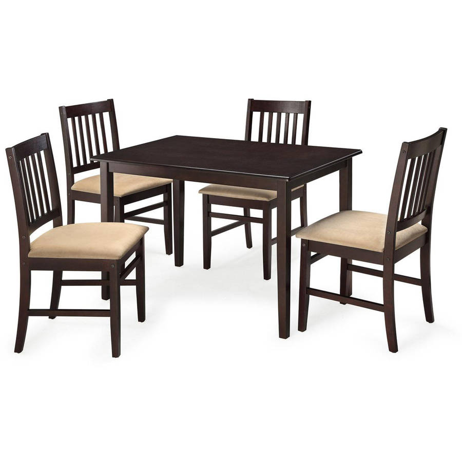 Apartment Kitchen Table And Chairs: 5pc Espresso Dining Room Kitchen Set Table 4 BROWN