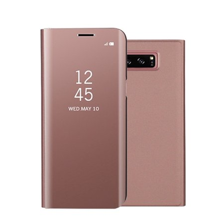 Luxury Ultra Thin Slim Clear Transparent View Mirror Full Screen Shockproof Flip Cover Protective Case with Kickstand for Samsung Galaxy S8 - Rose Gold