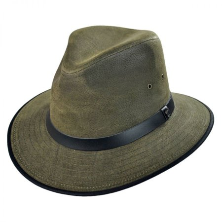 Nubuck Leather Safari Fedora Hat - XL - Olive - Fedora Hat Olive