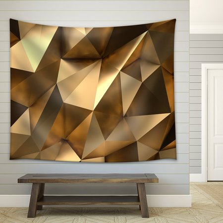 wall26 - Luxury Gold Abstract Polygonal Background 3D Rendering - Fabric Wall Tapestry Home Decor - 51x60 inches