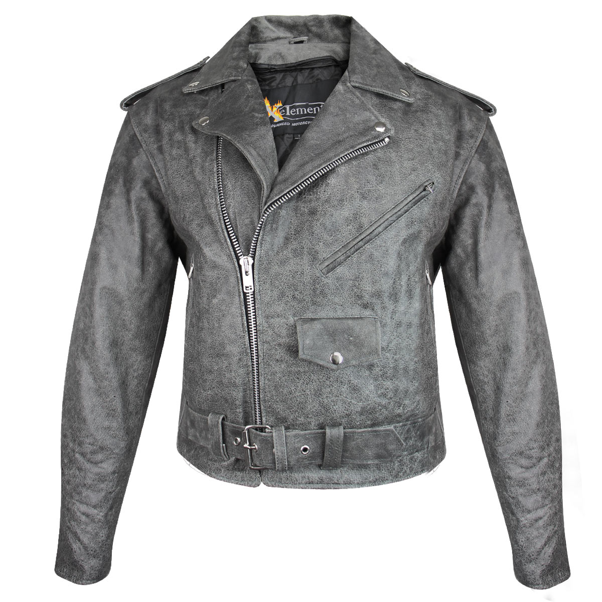 Xelement B7149 Classic Mens Distressed Gray Leather Jacket with Gun Pockets