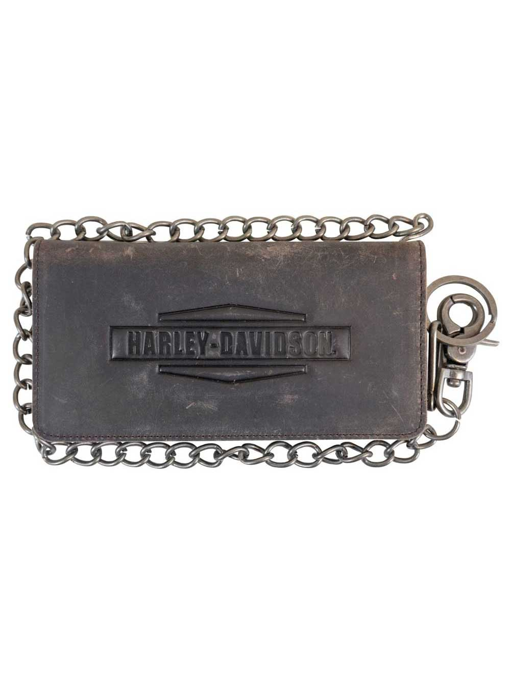 Biker Men/'s Leather Bi-fold Chain Wallet Center Flip Twin Window ID Card Slot