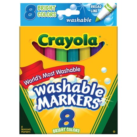 Crayola Broad Line Washable Markers  Bright Colors 8 Pkg