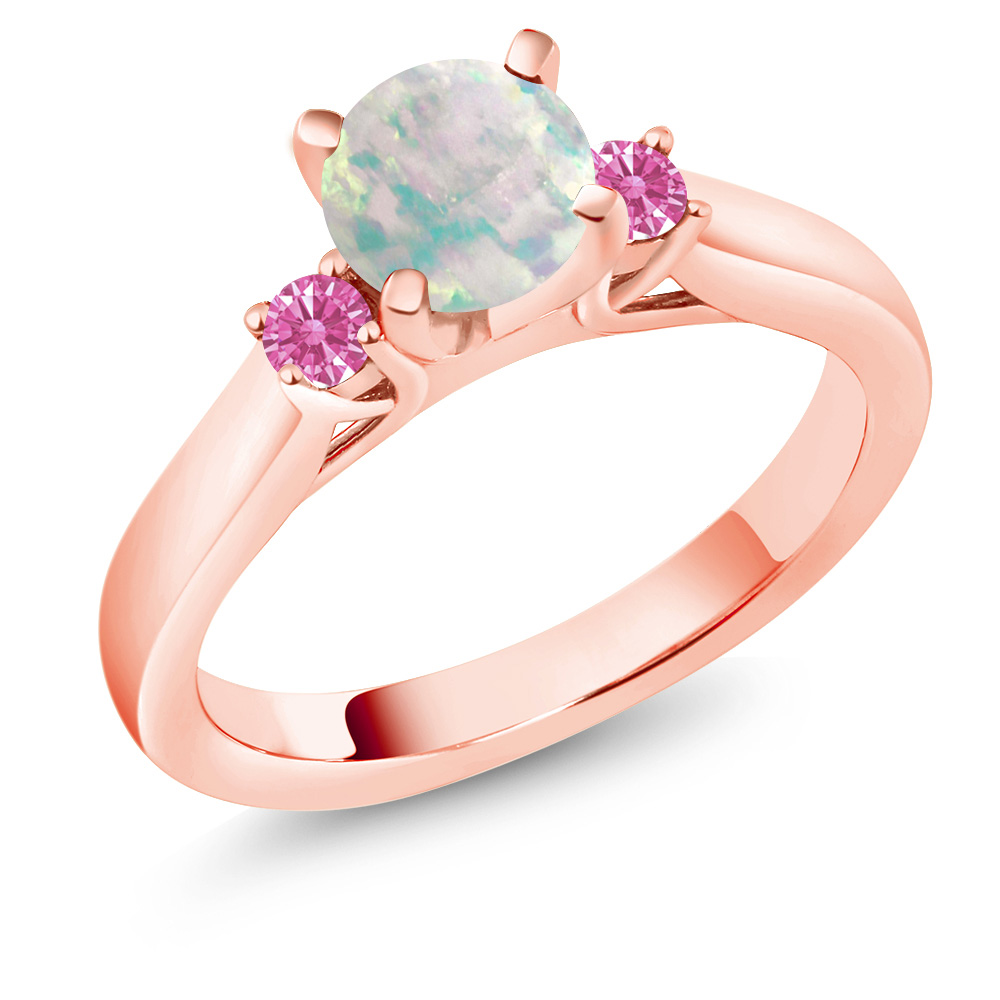 0.52 Ct Round Simulated Opal Pink 18K Rose Gold 3Stone Engagement Ring by