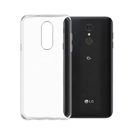 Slim TPU Silicone Soft Crystal Skin Protective Cover Case and Atom Cloth LG Q7+ (T-Mobile) - Crystal Clear