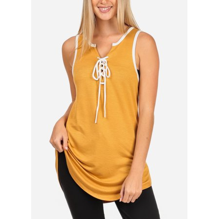 Womens Juniors Women's Junior Ladies Casual Sporty Sleeveless Lace Up V Neckline Super Stretchy Comfy Mustard Sleeveless Tank Tunic Top 40072W (Mustard Womens Top)