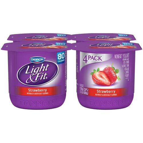 Dannon Light & Fit Nonfat Strawberry Yogurt, 6 oz, 4 ct