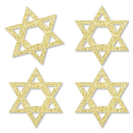 Hanukkah Glitter (Gold Glitter Star David - No-Mess Real Gold Glitter Cut-Outs - Hanukah Confetti - Set of)