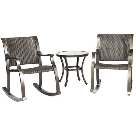 Dali 3 Piece Bistro Set Tempered Gl Table Wicker Mesh Rocking Chair Patio Backyard Outdoor Furniture