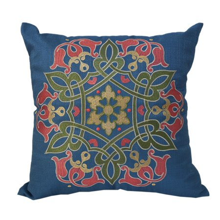 Blue Sapphire Accents (Home Accent Stunning Embroidered Sapphire Blue Multi-Color Throw Throw Pillowby  Pillows Red, Blue, Green Polyester)