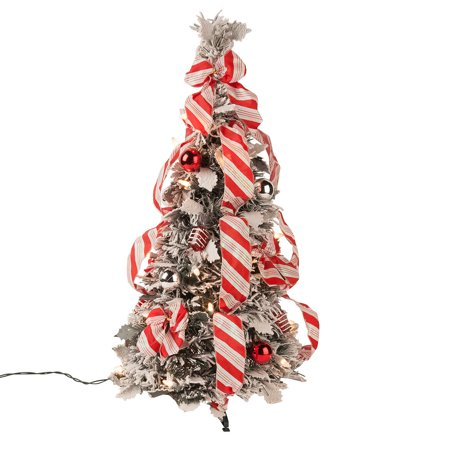 2' Snow Frosted Candy Cane Pull Up Tree by Holiday