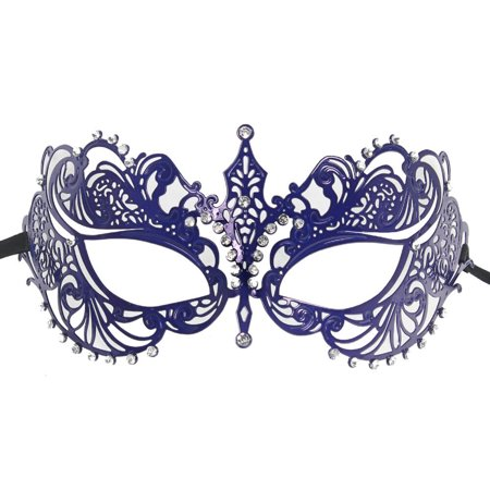 COLORFUL LASER CUT MASK - Metal and Rhinestones - PARTY - Purple Masquerade Masks For Women