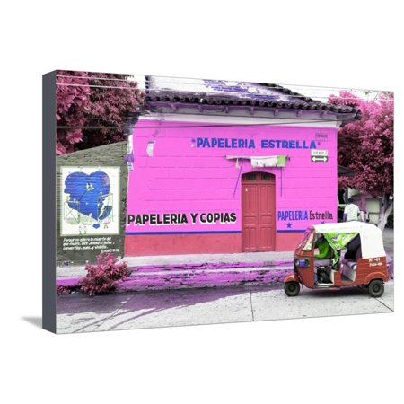 "¡Viva Mexico! Collection - Pink Estrella"""" Stretched Canvas Print Wall Art By Philippe Hugonnard"
