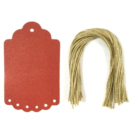 ALLYDREW 50 Red Gift Tags/Hang Tags with Large Scalloped Edge for Gift Wrap, Arts & Crafts & Price Tags (Pearl Shine Red Gift Tags & Pre-Cut Strings)