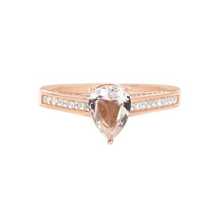 Simulated Morganite & Cubic Zirconia Teardrop Ring in Rose Gold over Sterling - Gemstone Teardrop Ring