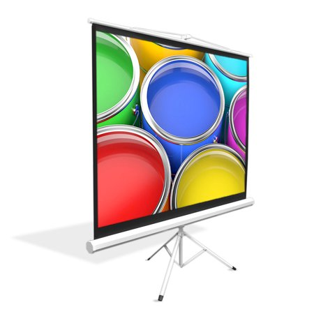 PYLE PRJTP72 - 72-inch Video Projector Screen, Easy Fold-Out & Roll-Up Projection Display, Tripod Stand Style ()