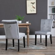Ktaxon Dining Chairs Set of 2, Tufted Velvet Studded Dining Chair with Solid Wood Legs, Dining Room Chair, Kitchen, Bedroom, Living Room Chairs Furniture, Gray