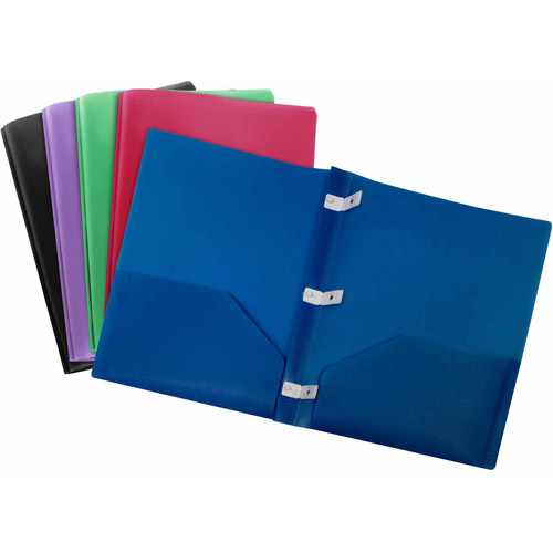 Storex Thicker Poly 2-Pocket Folder with Plastic Prongs