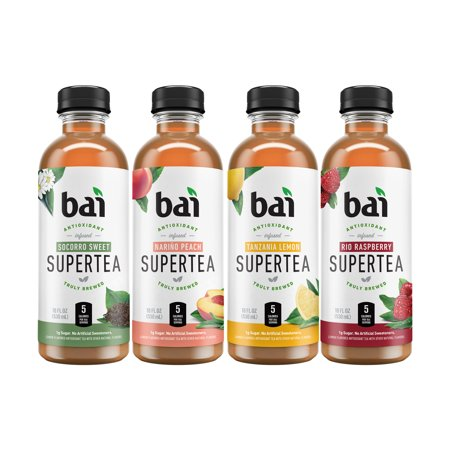 Bai Supertea Antioxidant Infused Beverage, Version II Variety Pack, 18 Fl Oz, 12 Count - White Sangria Easy