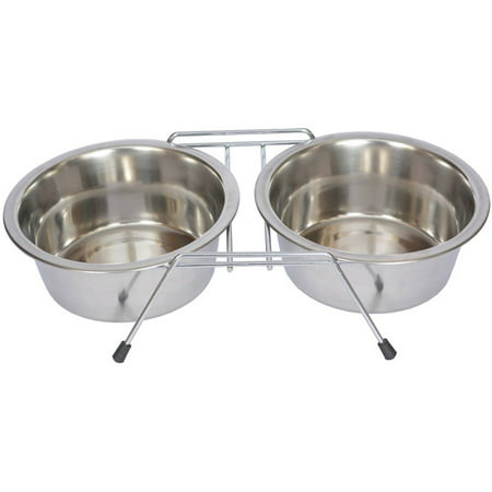 Iconic Pet Stainless Steel Double Diner with Wire Stand For Dog or Cat, 1/2 Pt, 8 Oz, 1 Cup