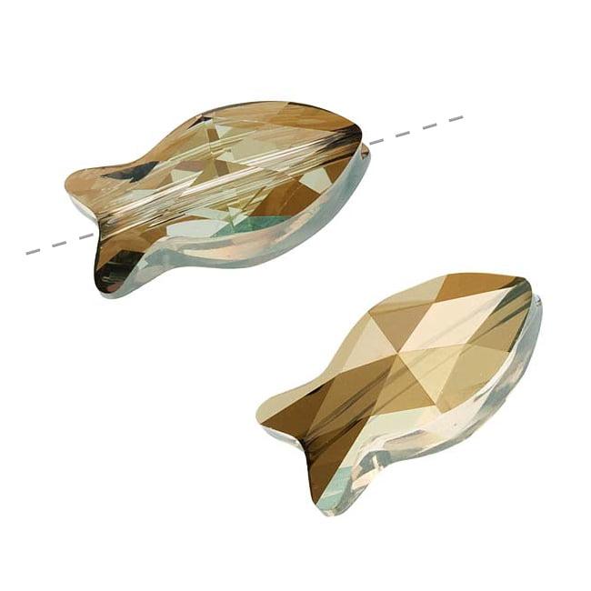 Swarovski Crystal, #5727 Fish Beads 18mm, 2 Pieces, Bronze Shade