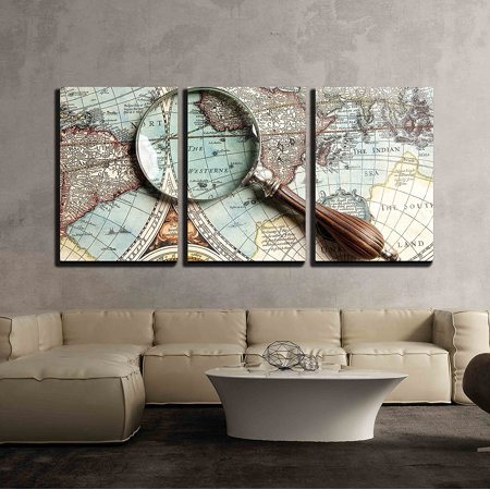 """wall26 - 3 Piece Canvas Wall Art - Vintage Magnifying Glass on an Old Map. - Modern Home Decor Stretched and Framed Ready to Hang - 16""""x24""""x3 Panels"""