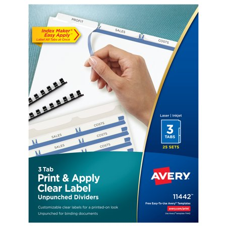 Avery® Print & Apply Clear Label Unpunched Dividers, Index Maker® Easy Apply™ Printable Label Strip, 3 White Tabs, 25 Sets (11442) Avery Index Maker White Dividers