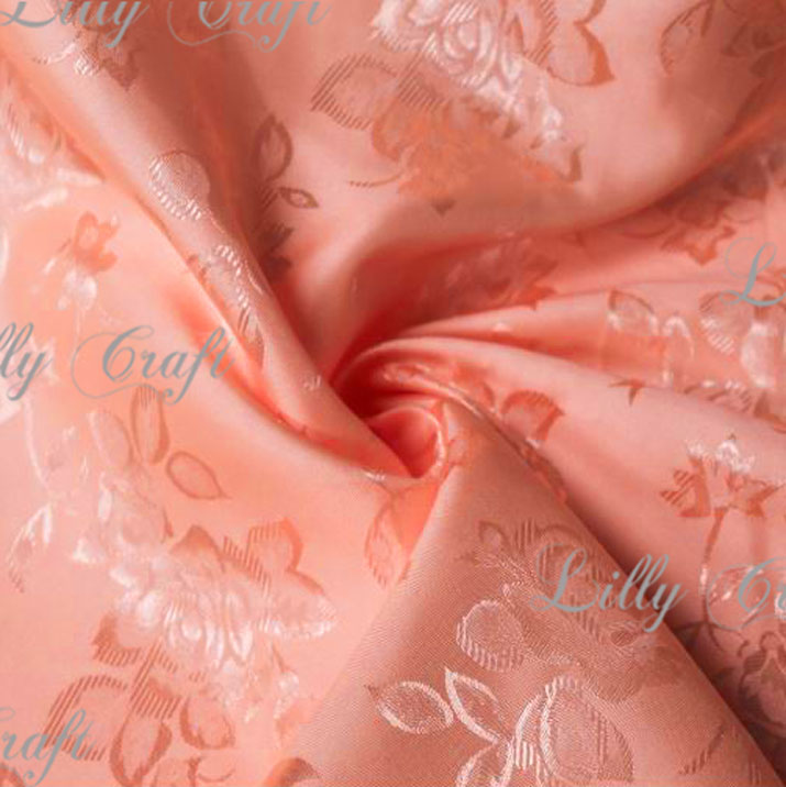"Peach Brocade Jacquard Satin Fabric 58""/60"" Inches Wide - Sold By The Yard"