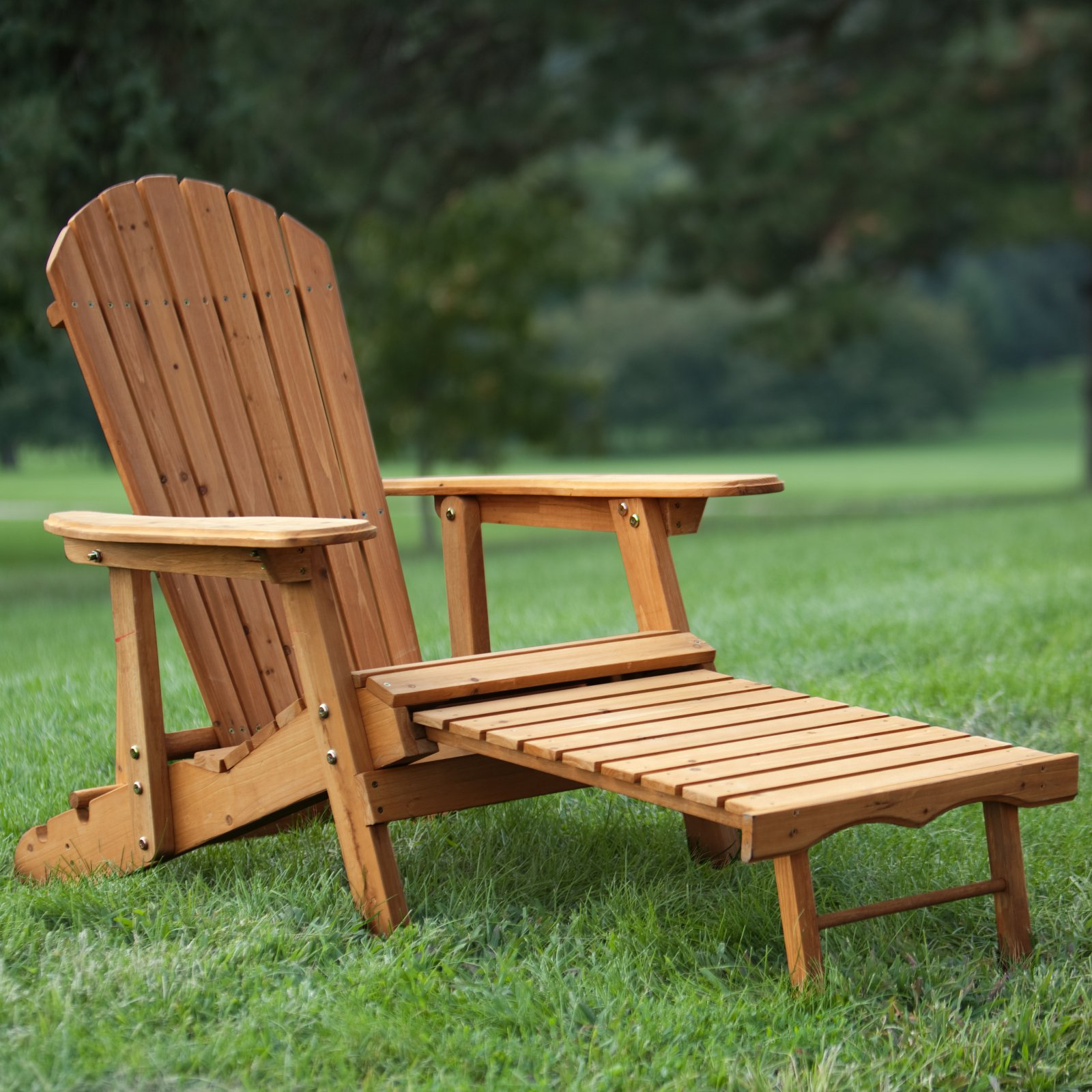 Coral Coast Big Daddy Reclining Tall Wood Adirondack Chair with Pull-out Ottoman Natural by Weicheng (HK) Industrial Trade Co Ltd
