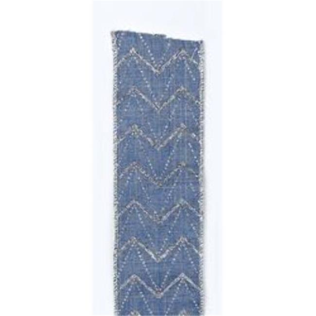 Kurtadler 1915091 Blue with Silver Glitter Double Wire Ribbon - Case of 48