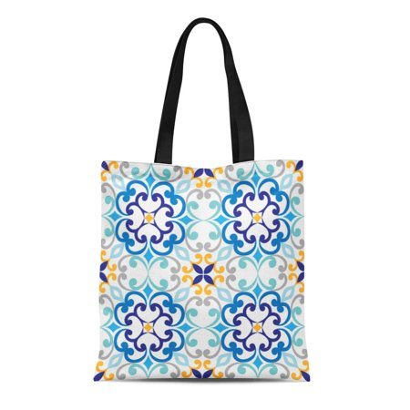 LADDKE Canvas Tote Bag Blue Mediterranean on Italian Tiles Majolica Pattern Abstract Antique Reusable Shoulder Grocery Shopping Bags