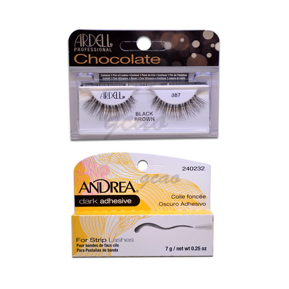 (1 PACK) ARDELL Lashes Chocolate Black Brown #887 + Andrea Glue Dark 3.5 g
