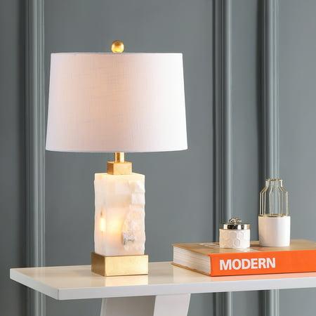 Eloise 23u0022 Alabaster/Metal LED Table Lamp, White/Gold Leaf by JONATHAN Y