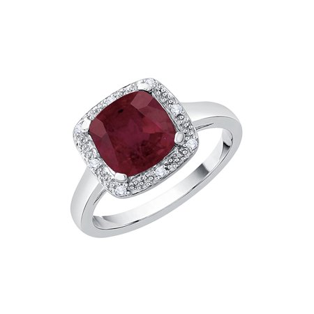 Prong Set Diamond and Cushion Cut Ruby Halo Engagement Ring in 10K White Gold (3 cttw, G-H, I2/I3) (Ruby Cushion Cut)