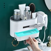 Hair Dryer Holder with Storage Basket Adhesive Bathroom Blow Dryer Rack Wall Organizer Shower Caddy Storage Accessories Set for Hair Care Styling Tool