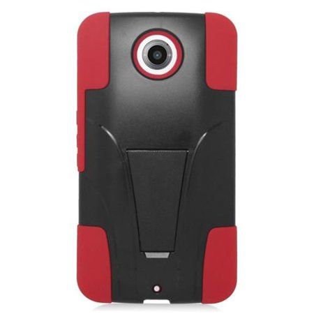 Plastic Dual Stand - Insten Hard Dual Layer Plastic Silicone Case with stand For Motorola Google Nexus 6 - Red