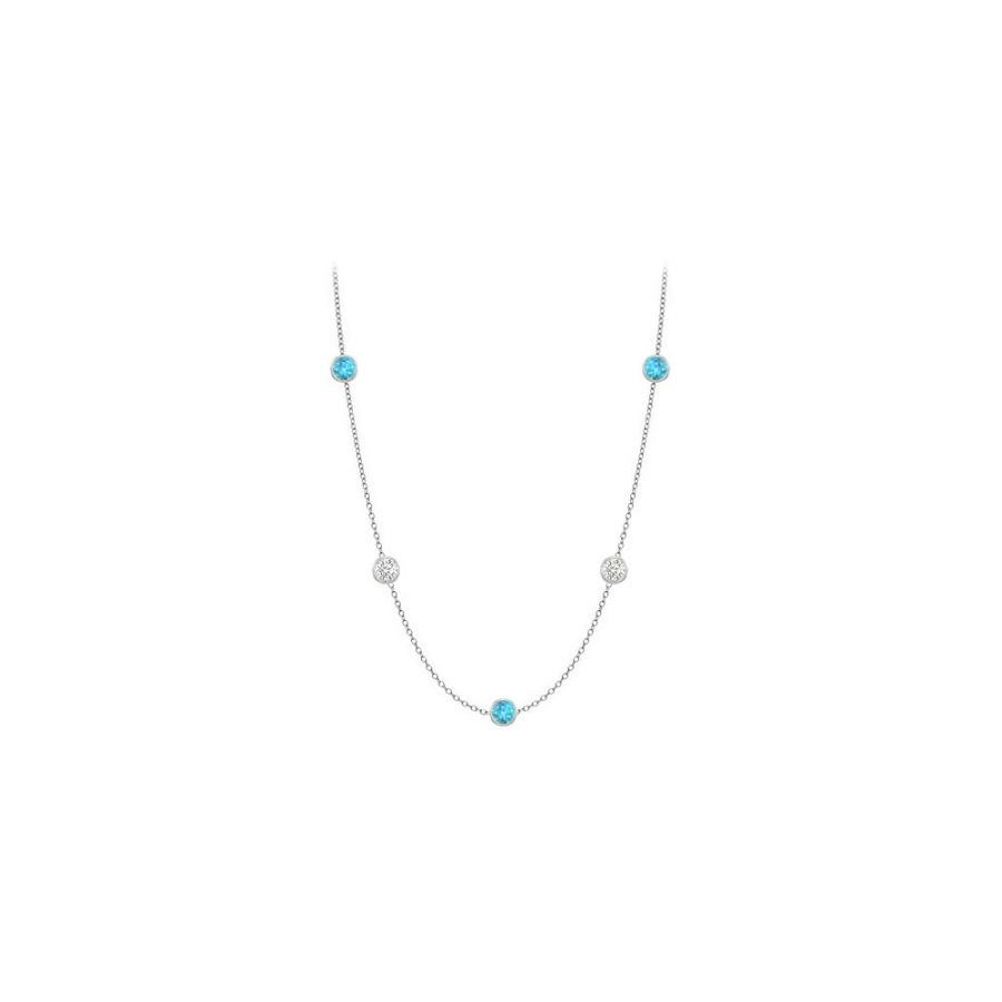 LoveBrightJewelry Necklace By The Yard Blue Topaz with Cubic Zirconia Ten Carat TGW in 14K White Gold 36 Inch Long by Love Bright