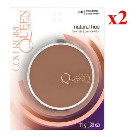 Pack 2 COVERGIRL Queen Natural Hue Mineral Bronzer Brown Bronze Q110, .39 oz 100 % Natural Origin Bronzer