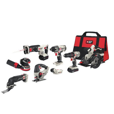 PORTER CABLE 20-Volt Max Lithium-Ion 8-Tool Combo Kit, PCCK6118