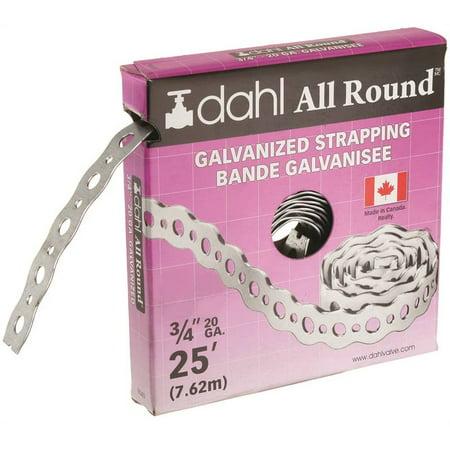 - DAHL 9040 Pipe Strap, 210 lb Capacity, 25 ft OAL, 3/4 in OAW, Galvanized Steel