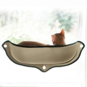 NEW Cat Hammock Cat Perch Window Seat Suction Cups Space Saving Pet Resting Seat Soft Cat Swing Bed Sunbath for Cats With Cushion(Beige)