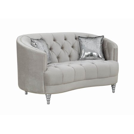 Everly Tufted Loveseat Grey and Silver ()