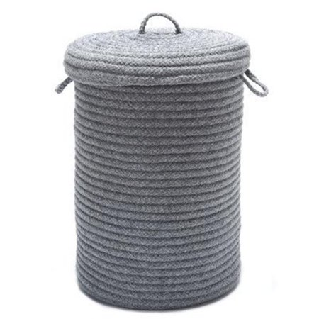 Wool Blend Light Gray hamper w/ lid ()