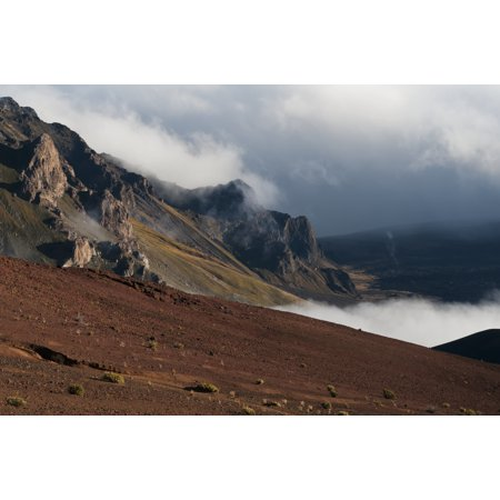 Morning clouds begin to burn off of Haleakala National Park Maui Hawaii United States of America Poster Print by Robert L Potts  Design - Good Morning America Halloween Pics