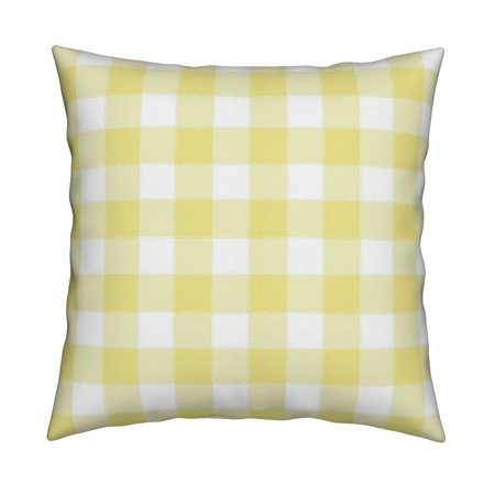 Yellow Gingham Plaid Yellow Throw Pillow Cover w Optional Insert by Roostery