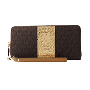 Jet Set Travel Logo and Embossed-Leather Continental Wristlet - Brown - 32F7GF6Z4B-200