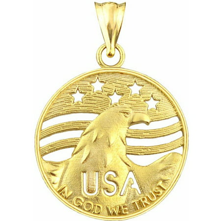US GOLD 10kt Gold USA With Eagle Charm Pendant (Eagle Bird Charm)