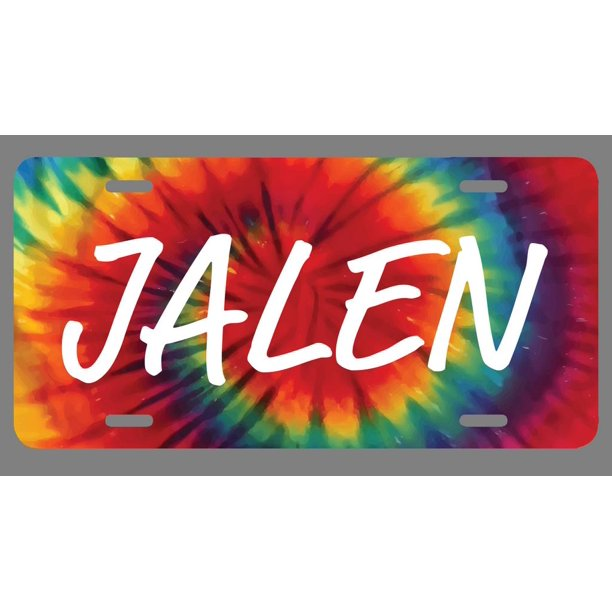Jalen Name Tie Dye Style License Plate Tag Vanity Novelty ...