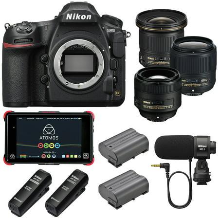 Nikon D850 Wi-Fi 4K Digital SLR Camera & 20mm, 35mm, 85mm f/1 8G AF-S  Filmmaker's Kit includes 3 Lenses, Extra EN-EL15a Battery, ME-1 / ME-W1